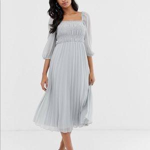 ASOS DESIGN Shirred Pleated Midi Dress